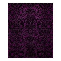 Damask2 Black Marble & Purple Leather Shower Curtain 60  X 72  (medium)  by trendistuff