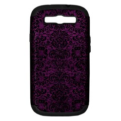 Damask2 Black Marble & Purple Leather Samsung Galaxy S Iii Hardshell Case (pc+silicone) by trendistuff