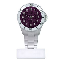 Damask2 Black Marble & Purple Leather Plastic Nurses Watch by trendistuff
