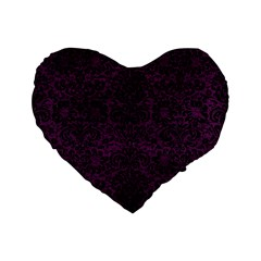 Damask2 Black Marble & Purple Leather Standard 16  Premium Flano Heart Shape Cushions by trendistuff