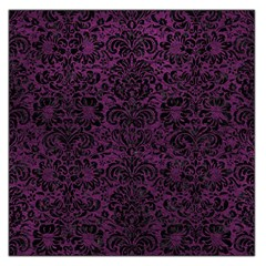 Damask2 Black Marble & Purple Leather Large Satin Scarf (square) by trendistuff