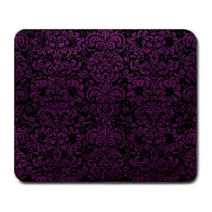 Damask2 Black Marble & Purple Leather (r) Large Mousepads by trendistuff
