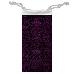 Damask2 Black Marble & Purple Leather (r) Jewelry Bag by trendistuff