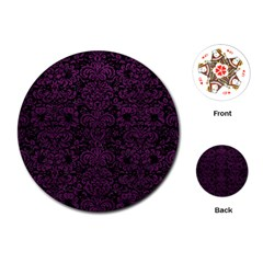 Damask2 Black Marble & Purple Leather (r) Playing Cards (round)  by trendistuff