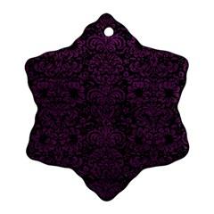 Damask2 Black Marble & Purple Leather (r) Ornament (snowflake) by trendistuff