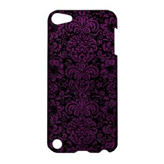 Damask2 Black Marble & Purple Leather (r) Apple Ipod Touch 5 Hardshell Case by trendistuff