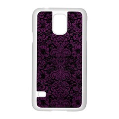 Damask2 Black Marble & Purple Leather (r) Samsung Galaxy S5 Case (white) by trendistuff