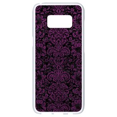 Damask2 Black Marble & Purple Leather (r) Samsung Galaxy S8 White Seamless Case