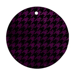 Houndstooth1 Black Marble & Purple Leather Ornament (round) by trendistuff