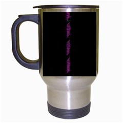 Houndstooth1 Black Marble & Purple Leather Travel Mug (silver Gray) by trendistuff
