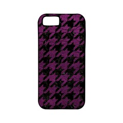 Houndstooth1 Black Marble & Purple Leather Apple Iphone 5 Classic Hardshell Case (pc+silicone) by trendistuff