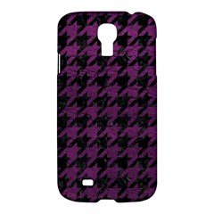 Houndstooth1 Black Marble & Purple Leather Samsung Galaxy S4 I9500/i9505 Hardshell Case by trendistuff