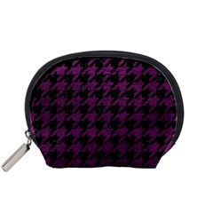 Houndstooth1 Black Marble & Purple Leather Accessory Pouches (small)