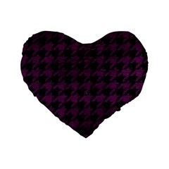 Houndstooth1 Black Marble & Purple Leather Standard 16  Premium Flano Heart Shape Cushions by trendistuff