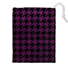 Houndstooth1 Black Marble & Purple Leather Drawstring Pouches (xxl) by trendistuff