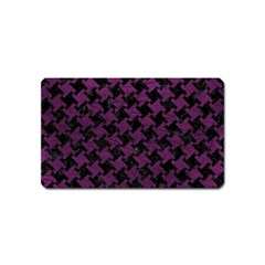 Houndstooth2 Black Marble & Purple Leather Magnet (name Card) by trendistuff