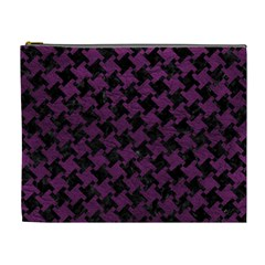 Houndstooth2 Black Marble & Purple Leather Cosmetic Bag (xl) by trendistuff