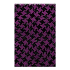 Houndstooth2 Black Marble & Purple Leather Shower Curtain 48  X 72  (small)  by trendistuff