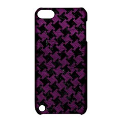 Houndstooth2 Black Marble & Purple Leather Apple Ipod Touch 5 Hardshell Case With Stand by trendistuff