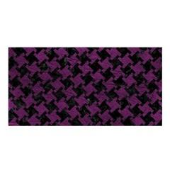 Houndstooth2 Black Marble & Purple Leather Satin Shawl by trendistuff