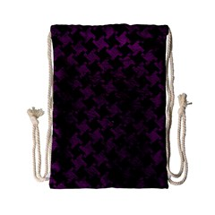 Houndstooth2 Black Marble & Purple Leather Drawstring Bag (small) by trendistuff