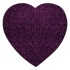 Hexagon1 Black Marble & Purple Leather Jigsaw Puzzle (heart) by trendistuff
