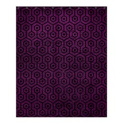 Hexagon1 Black Marble & Purple Leather Shower Curtain 60  X 72  (medium)  by trendistuff