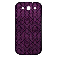 Hexagon1 Black Marble & Purple Leather Samsung Galaxy S3 S Iii Classic Hardshell Back Case by trendistuff