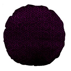 Hexagon1 Black Marble & Purple Leather Large 18  Premium Round Cushions by trendistuff