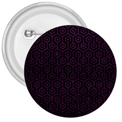 Hexagon1 Black Marble & Purple Leather (r) 3  Buttons by trendistuff
