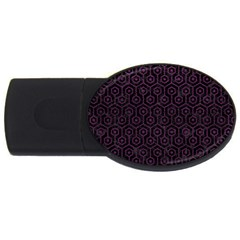 Hexagon1 Black Marble & Purple Leather (r) Usb Flash Drive Oval (4 Gb) by trendistuff