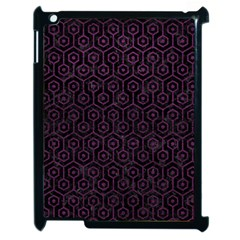 Hexagon1 Black Marble & Purple Leather (r) Apple Ipad 2 Case (black) by trendistuff