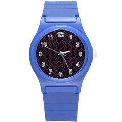 Hexagon1 Black Marble & Purple Leather (r) Round Plastic Sport Watch (s) by trendistuff