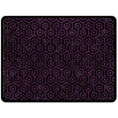 Hexagon1 Black Marble & Purple Leather (r) Double Sided Fleece Blanket (large)  by trendistuff