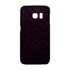 Hexagon1 Black Marble & Purple Leather (r) Galaxy S6 Edge