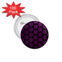 Hexagon2 Black Marble & Purple Leather 1 75  Buttons (100 Pack)  by trendistuff