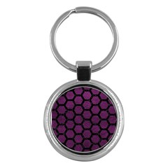 Hexagon2 Black Marble & Purple Leather Key Chains (round)  by trendistuff