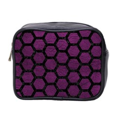 Hexagon2 Black Marble & Purple Leather Mini Toiletries Bag 2 Side by trendistuff
