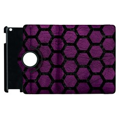 Hexagon2 Black Marble & Purple Leather Apple Ipad 2 Flip 360 Case by trendistuff