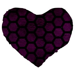 Hexagon2 Black Marble & Purple Leather Large 19  Premium Flano Heart Shape Cushions by trendistuff