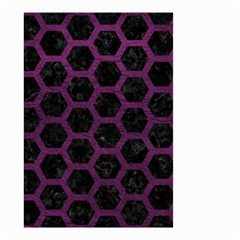 Hexagon2 Black Marble & Purple Leather (r) Small Garden Flag (two Sides) by trendistuff