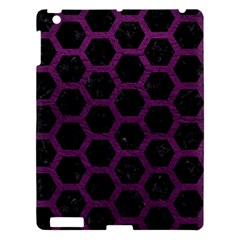 Hexagon2 Black Marble & Purple Leather (r) Apple Ipad 3/4 Hardshell Case by trendistuff
