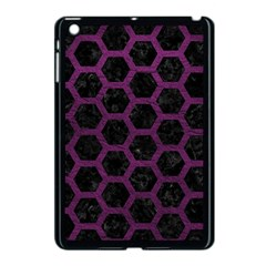 Hexagon2 Black Marble & Purple Leather (r) Apple Ipad Mini Case (black) by trendistuff