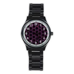 Hexagon2 Black Marble & Purple Leather (r) Stainless Steel Round Watch by trendistuff