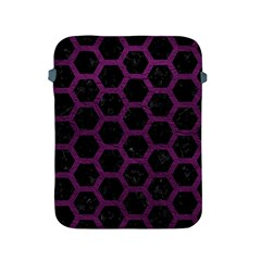 Hexagon2 Black Marble & Purple Leather (r) Apple Ipad 2/3/4 Protective Soft Cases by trendistuff