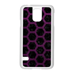Hexagon2 Black Marble & Purple Leather (r) Samsung Galaxy S5 Case (white) by trendistuff