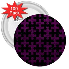 Puzzle1 Black Marble & Purple Leather 3  Buttons (100 Pack)  by trendistuff