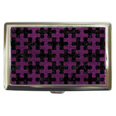 Puzzle1 Black Marble & Purple Leather Cigarette Money Cases by trendistuff