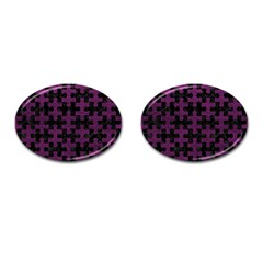 Puzzle1 Black Marble & Purple Leather Cufflinks (oval) by trendistuff