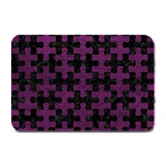 Puzzle1 Black Marble & Purple Leather Plate Mats by trendistuff